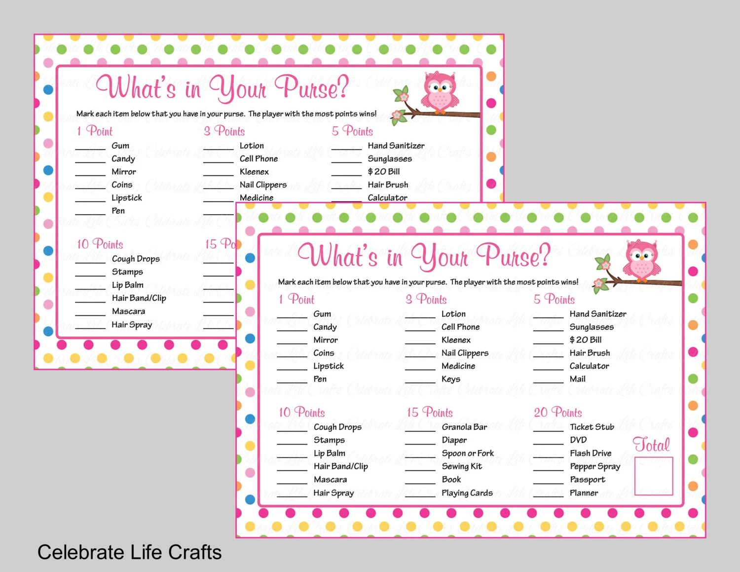 What S In Your Purse Baby Shower Game Printable Owl Baby