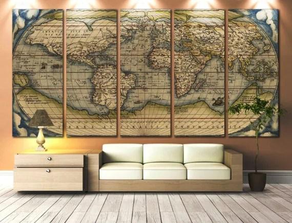 LARGE Wall Art World Map Canvas Print / Vintage World Map