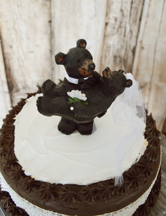 Black Bear Bride And Groom Wedding Cake Topper Centerpiece