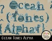 Digital Scrapbook Alpha Clip Art - Ocean Tones - Digital Alphabet Clipart - Alphabet Letters Clipart Typography