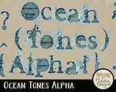 Digital Scrapbook Alpha Clip Art - Ocean Tones - Digital Alphabet Clipart - Alphabet Letters Clipart Typography