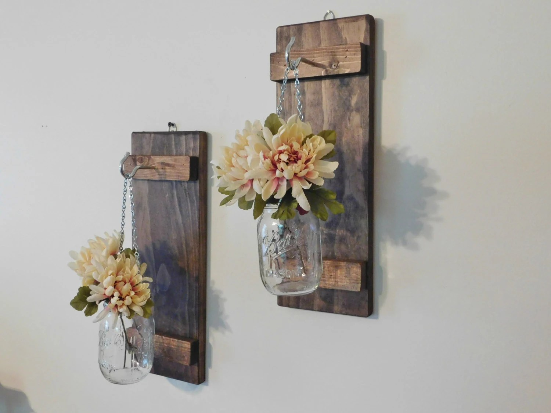 Hanging Mason Jar Wall Sconce Flower Vase Candle Sconce Wall on Candle Wall Sconces With Flowers id=85885