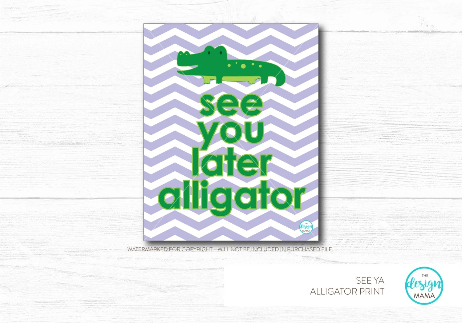 Navy Chevron With Green See You Later Alligator