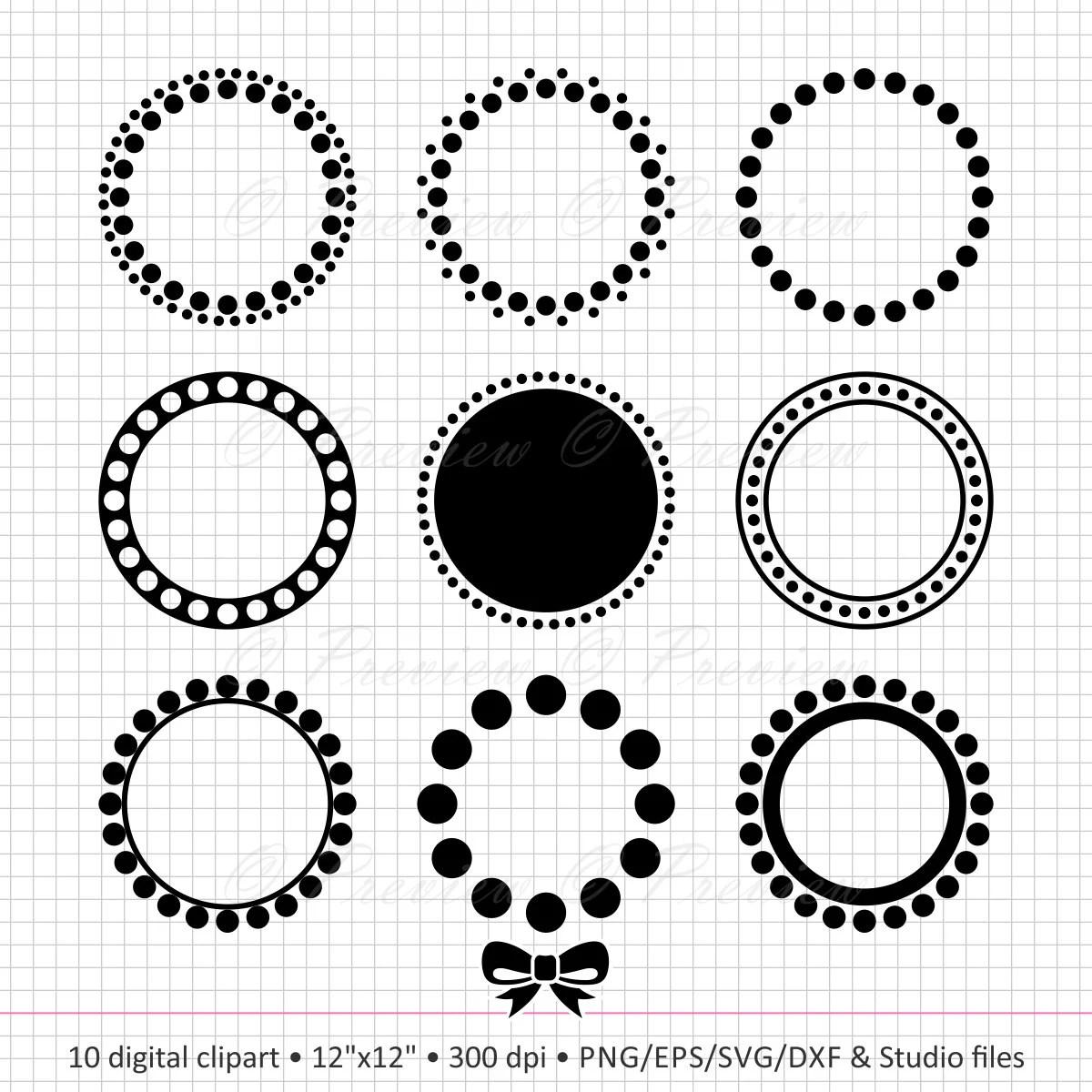 Buy 2 Get 1 Free Digital Clipart Circle Monogram Dot Frame