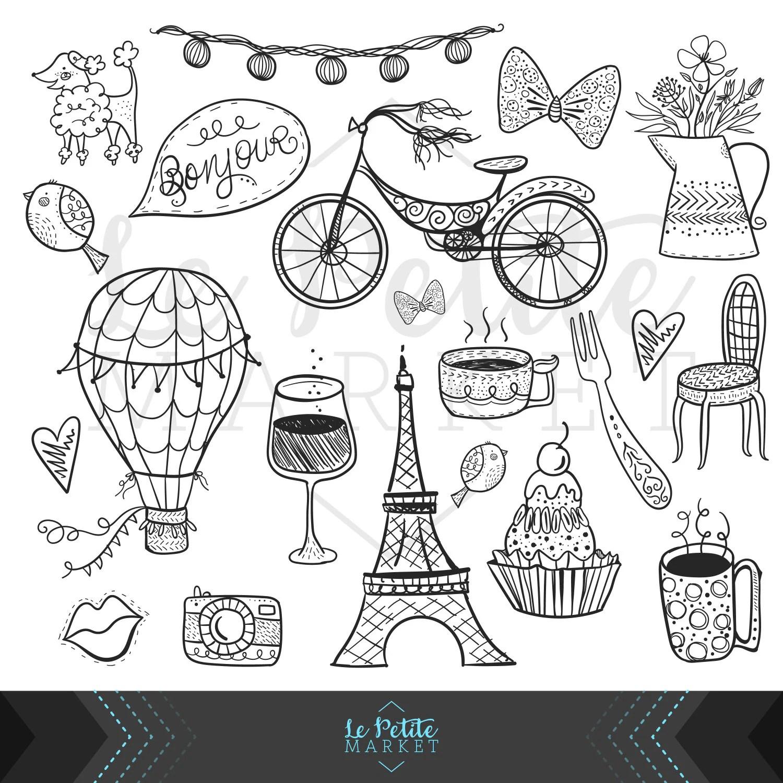 Cute Hand Drawn Digital Paris Clipart Set Eiffel Tower