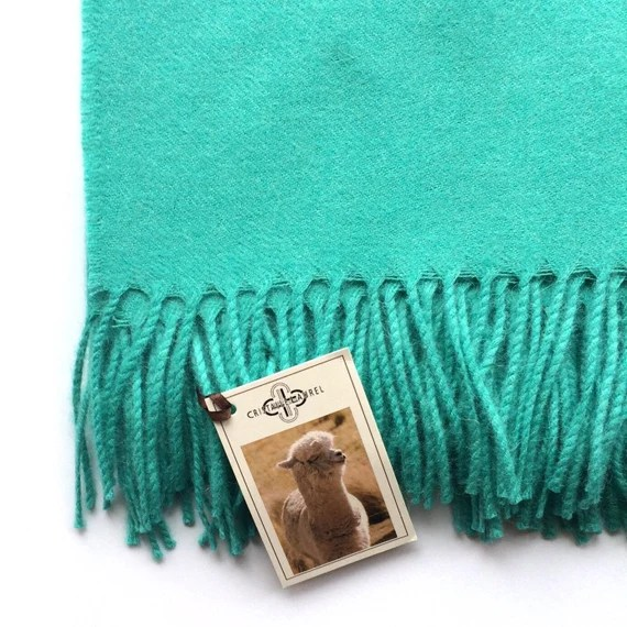 Beautiful Luxurious Soft Baby Alpaca Throw Blanket with Fringe in Aqua. Add a Splash of Color to Your Home Décor with this Blanket.