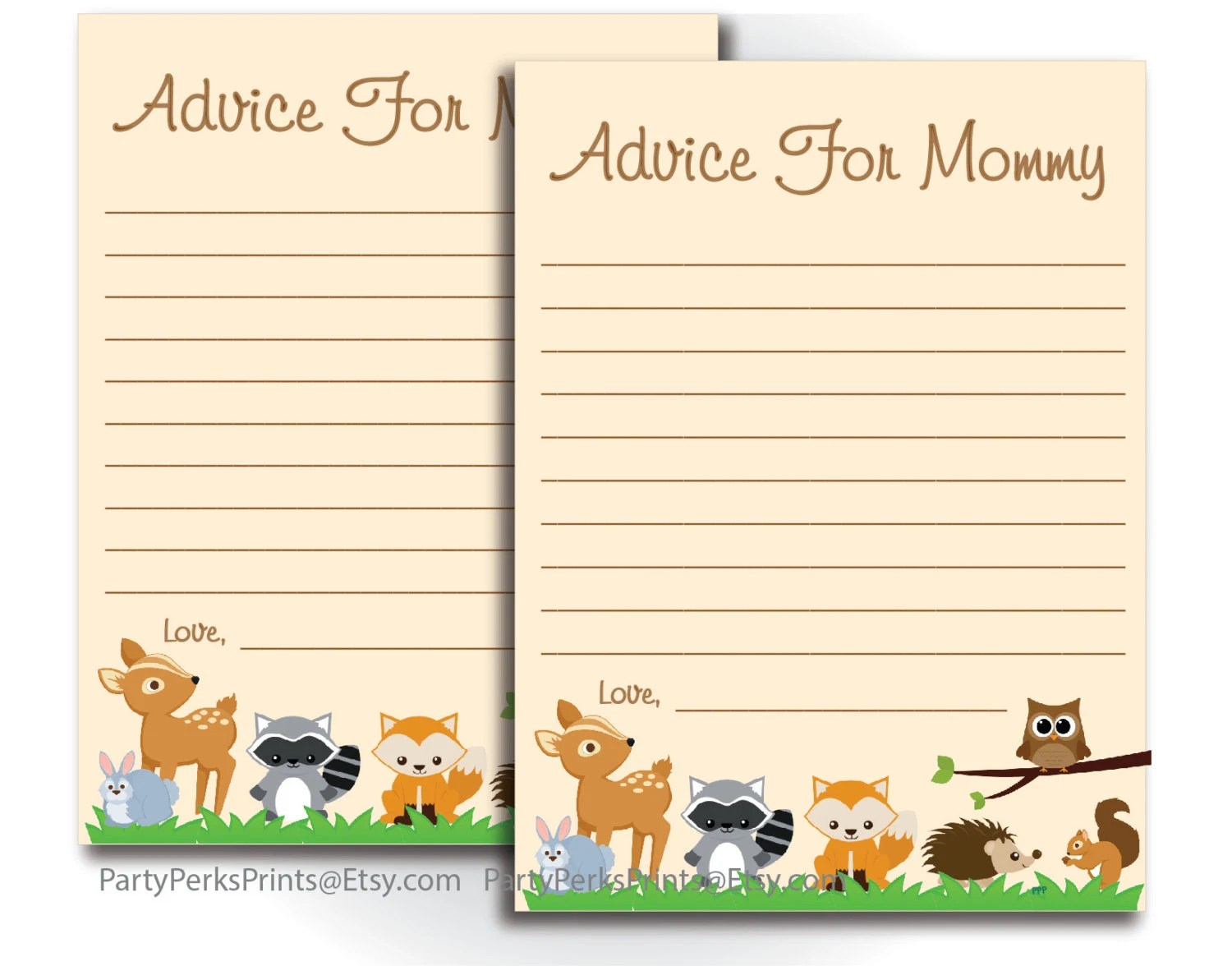 Advice For Mommy To Be Printable Woodland Animal Theme