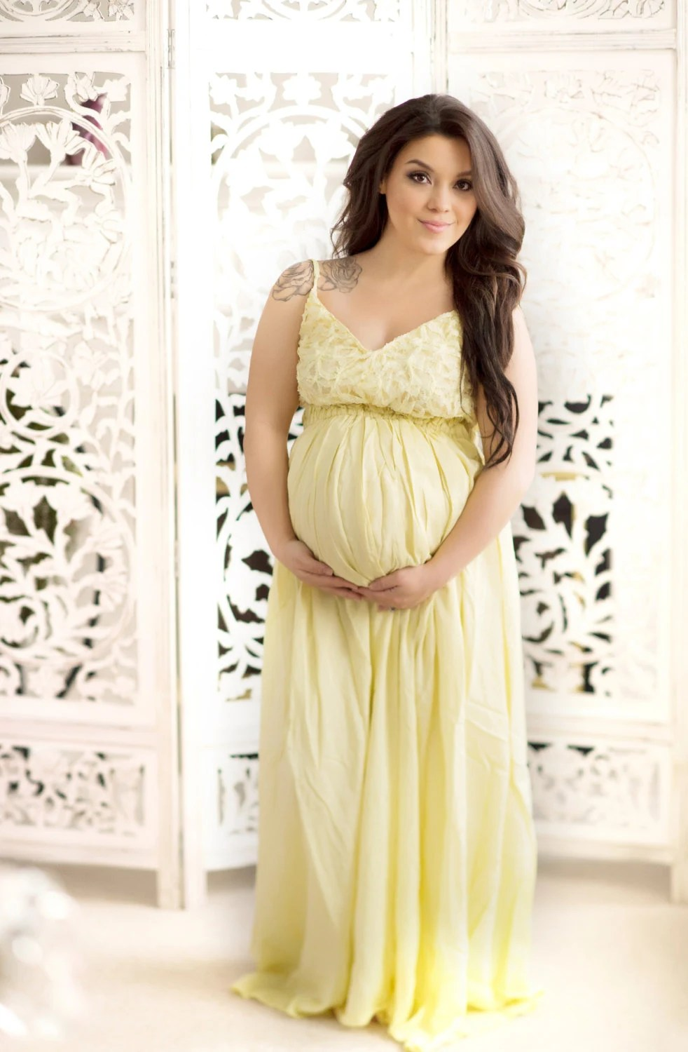 Yellow Maternity Dress Baby Shower