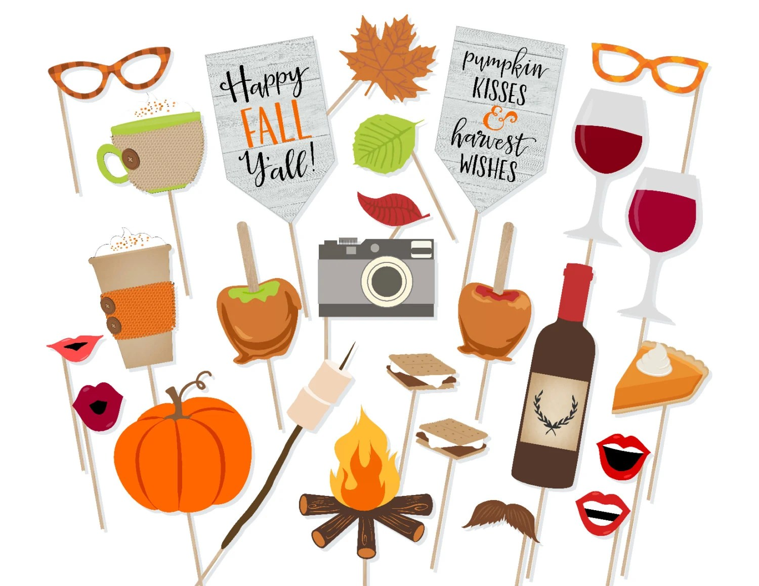Printable Happy Fall Y All Photo Booth Props Instant