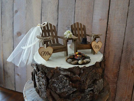 Country Wedding Chair Wedding Cake Topper Camping Hunting