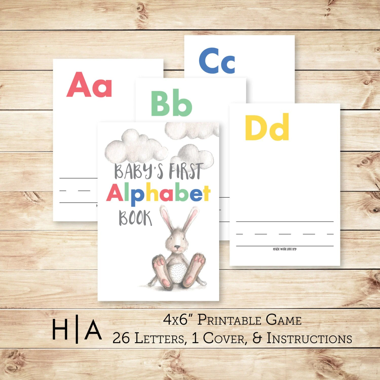 Alphabet Game Baby Shower Diy Abc Book 4x6 Baby S