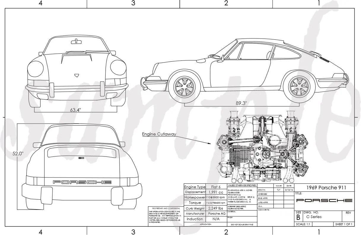 Porsche 911 Engineering Drawing