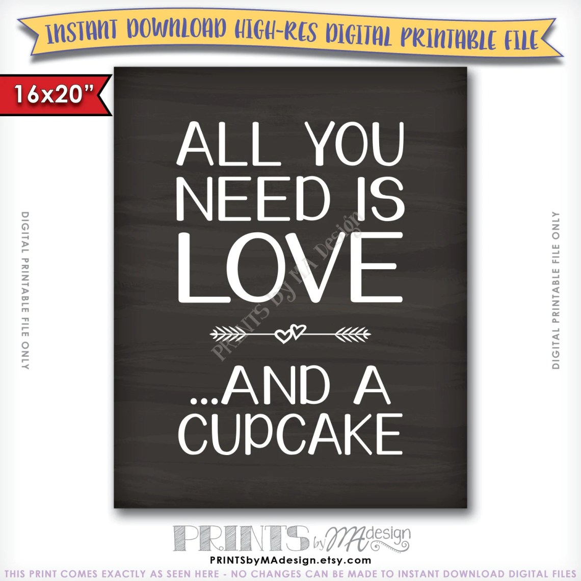 Download All You Need Is Love and a Cupcake Sign Wedding Dessert Sign