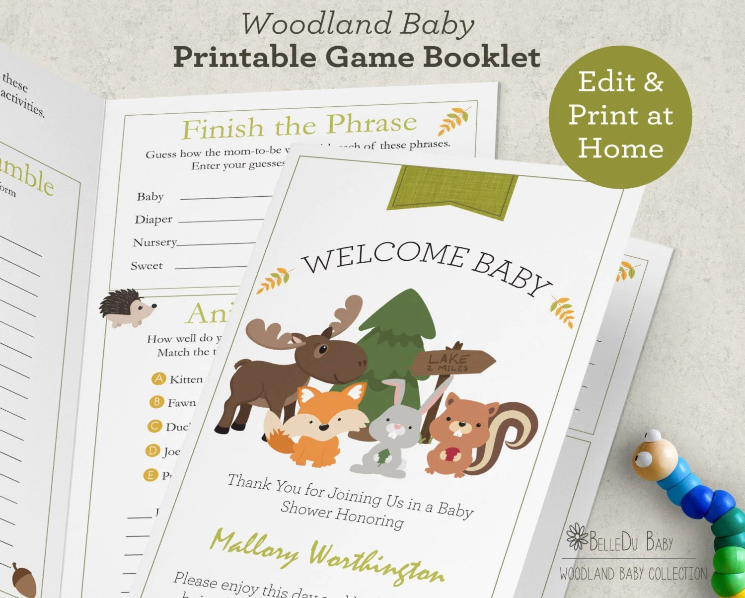 Woodland Baby Shower Games Booklet Printable By Belledustudios