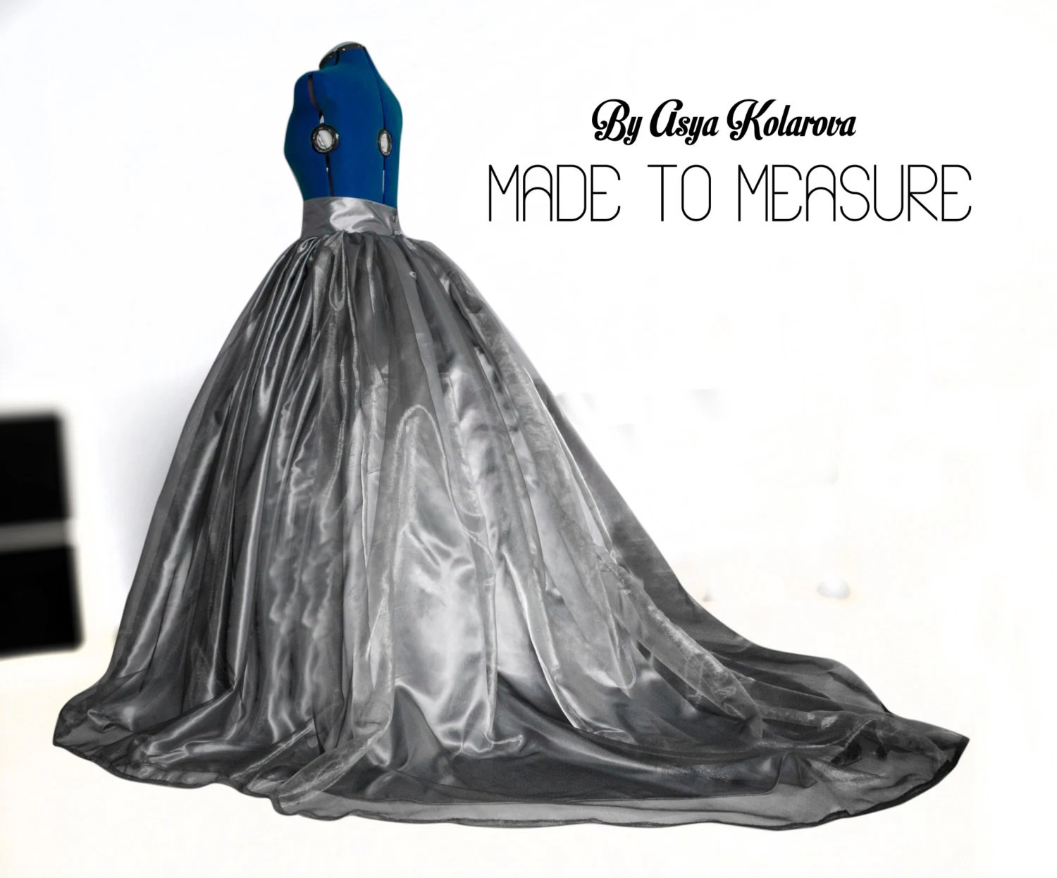 Silver Organza Ball Gown Skirt With Cathedral Train Pearl Grey