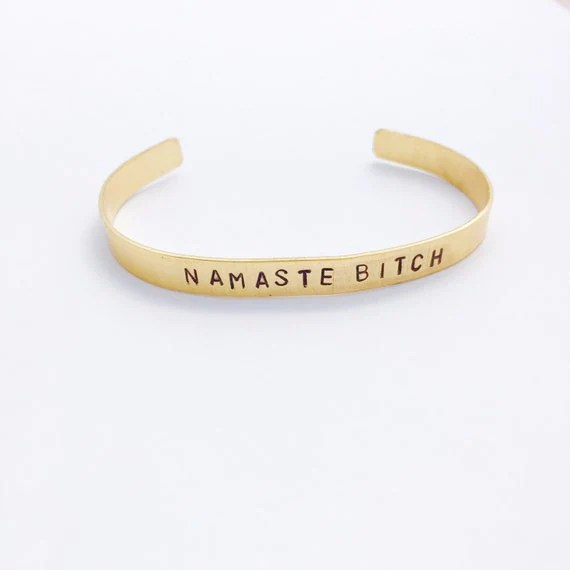 Namaste Bit** Bracelet - Yoga Jewelry - Hand Stamped Cuff Bracelet- Namaste - Gifts for Her - Customizable - Personalized