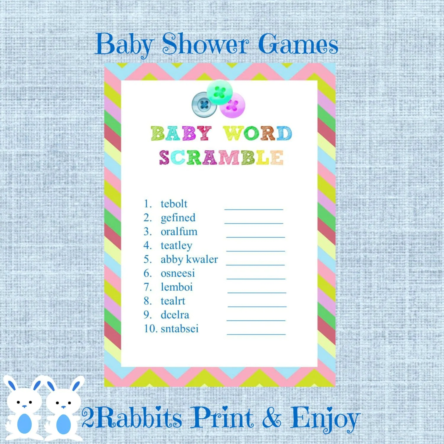 Cute As A Button Word Scramble With Answers Button Shower Baby