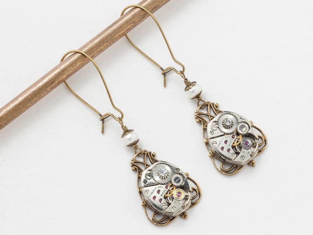 Steampunk Earrings Vintage Watch Movements Gears Silver