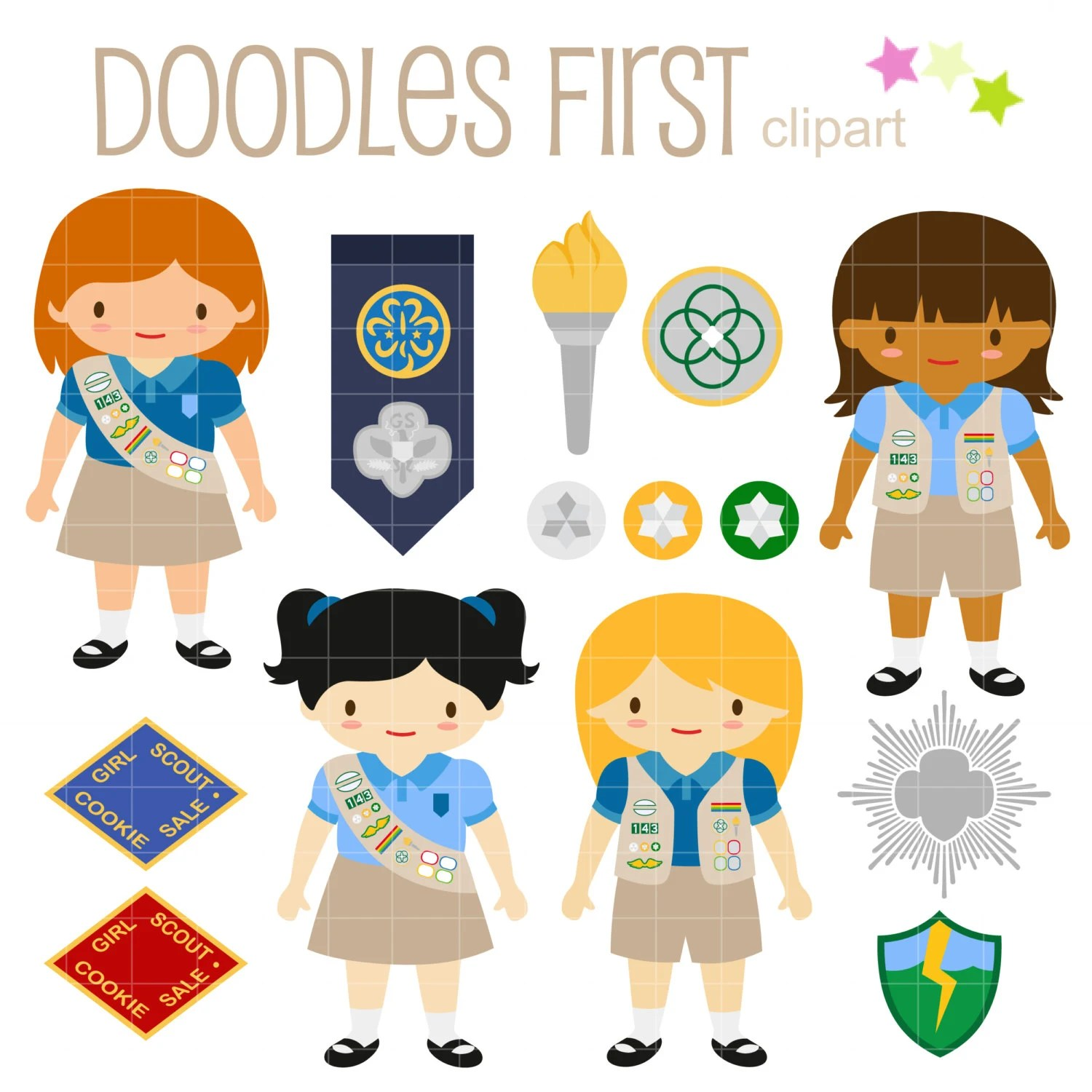 Cadette Girl Scout Clip Art For Scrapbooking Card Making