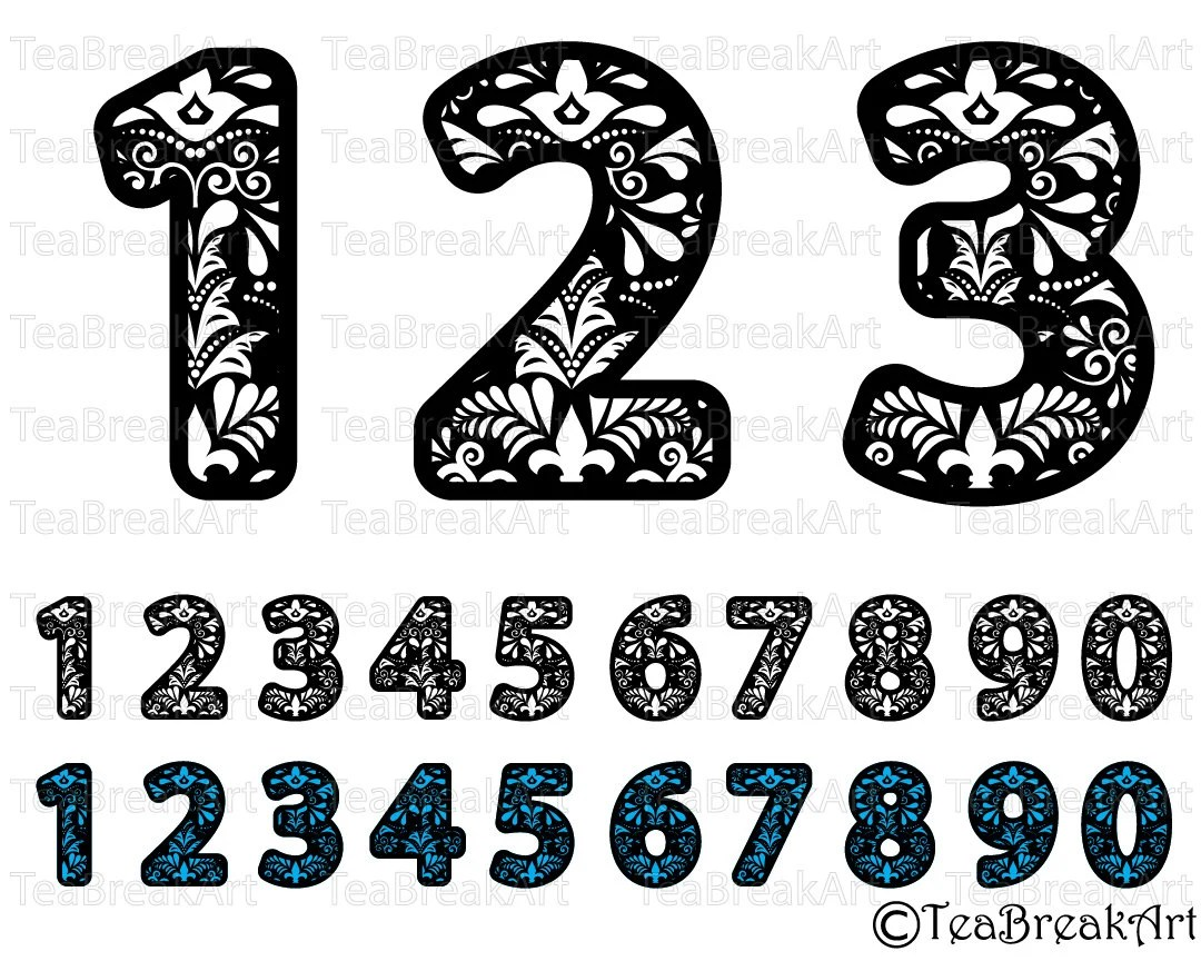 Download Zentangle numbers Cutting Files SVG PNG EPS dxf design ClipArt