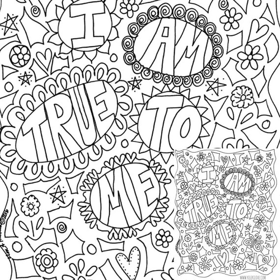 i am true to me printable coloring page instantly