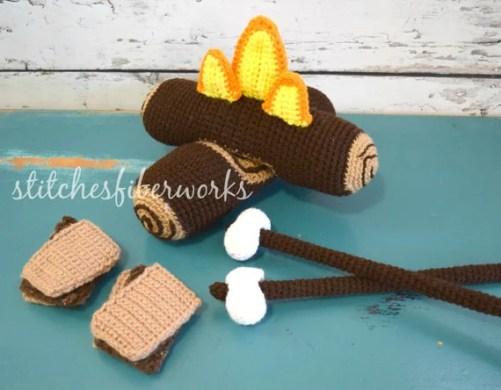 Custom Crochet Campfire Play Set, Crochet Campfire, Crochet S'mores, Crochet Toy