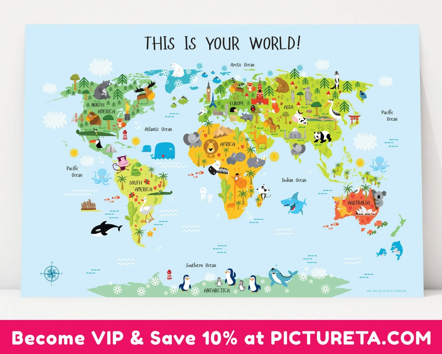 Unique Baby T Childrens World Map Poster Nursery Decor
