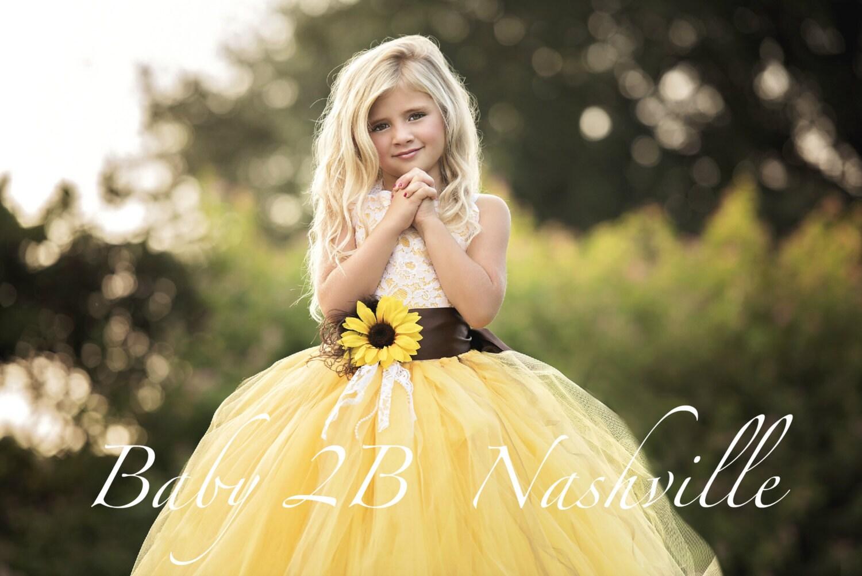 Yellow Sunflower Dress Yellow Dress Lace Dress Tulle Dress