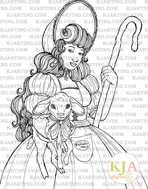 Little Bo Peep Coloring Page Line Art Printable