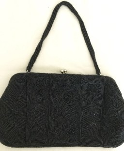 Vintage Clutch - Black Beaded Clutch - Clutch Purse - Vintage evening bag
