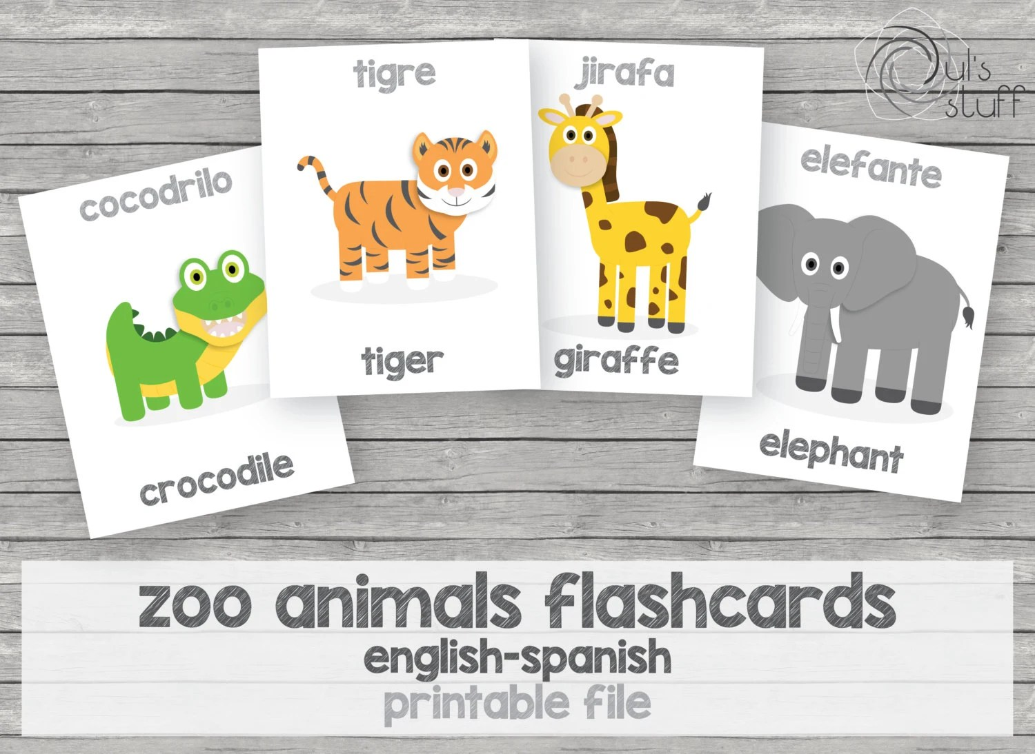 Printable Kids Zoo Animals Flashcards English Spanish