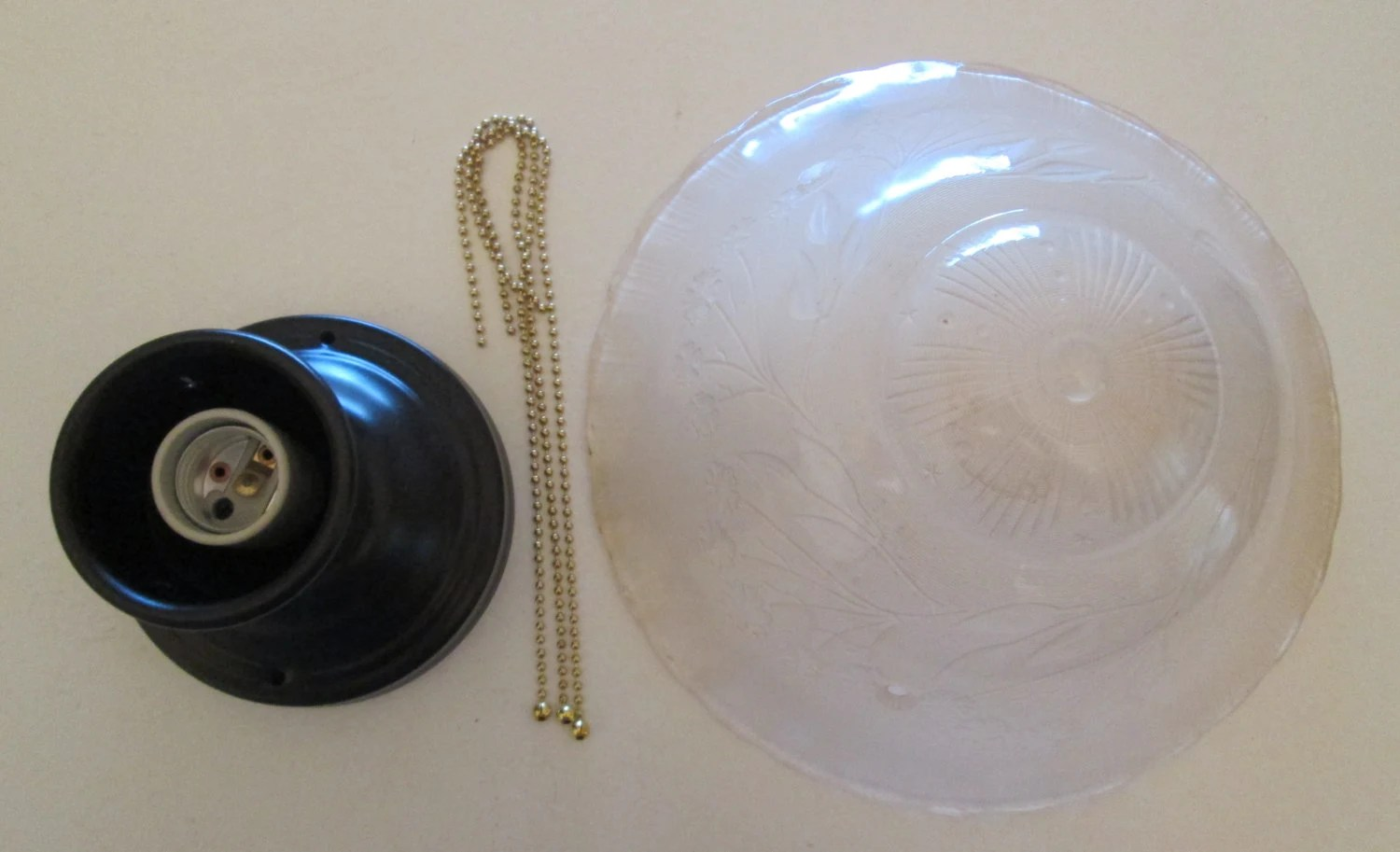 Vintage Art Deco Beaded Chain Frosted Ceiling Light Fixture
