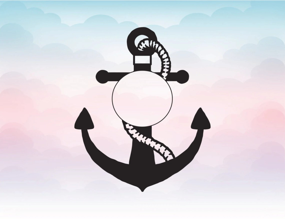 Download Anchor monogram split Svg Anchor Vector nautical themed SVG