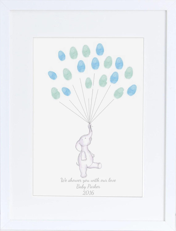Baby Shower Guest Book Keepsake Art Elephant Holding