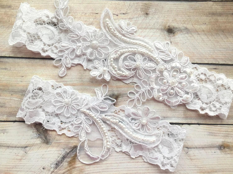 Wedding Garter Lace Wedding Garter Set White Wedding Garter