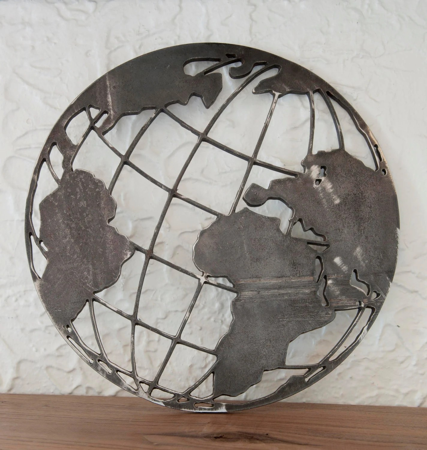 12x12 World Metal Cut Out Globe All Around The World