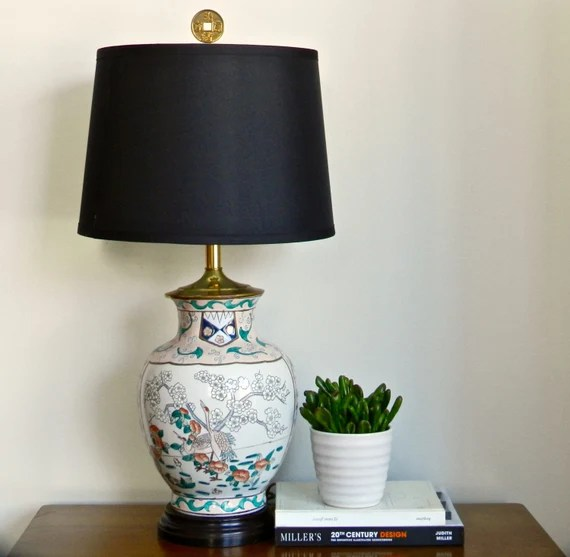 Vintage Asian Table Lamp Chinese Ginger Jar End Table Lamp Porcelainware Rose Quartz Chinoiserie Chic