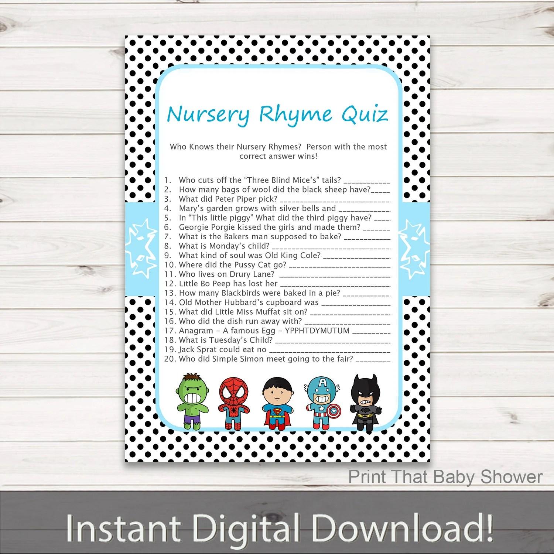 Baby Shower Games Nursery Rhyme Quiz Game Superhero Baby