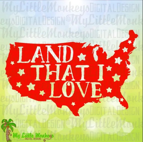 Download Land That I Love USA Word Art 4th of July Patriotic Design