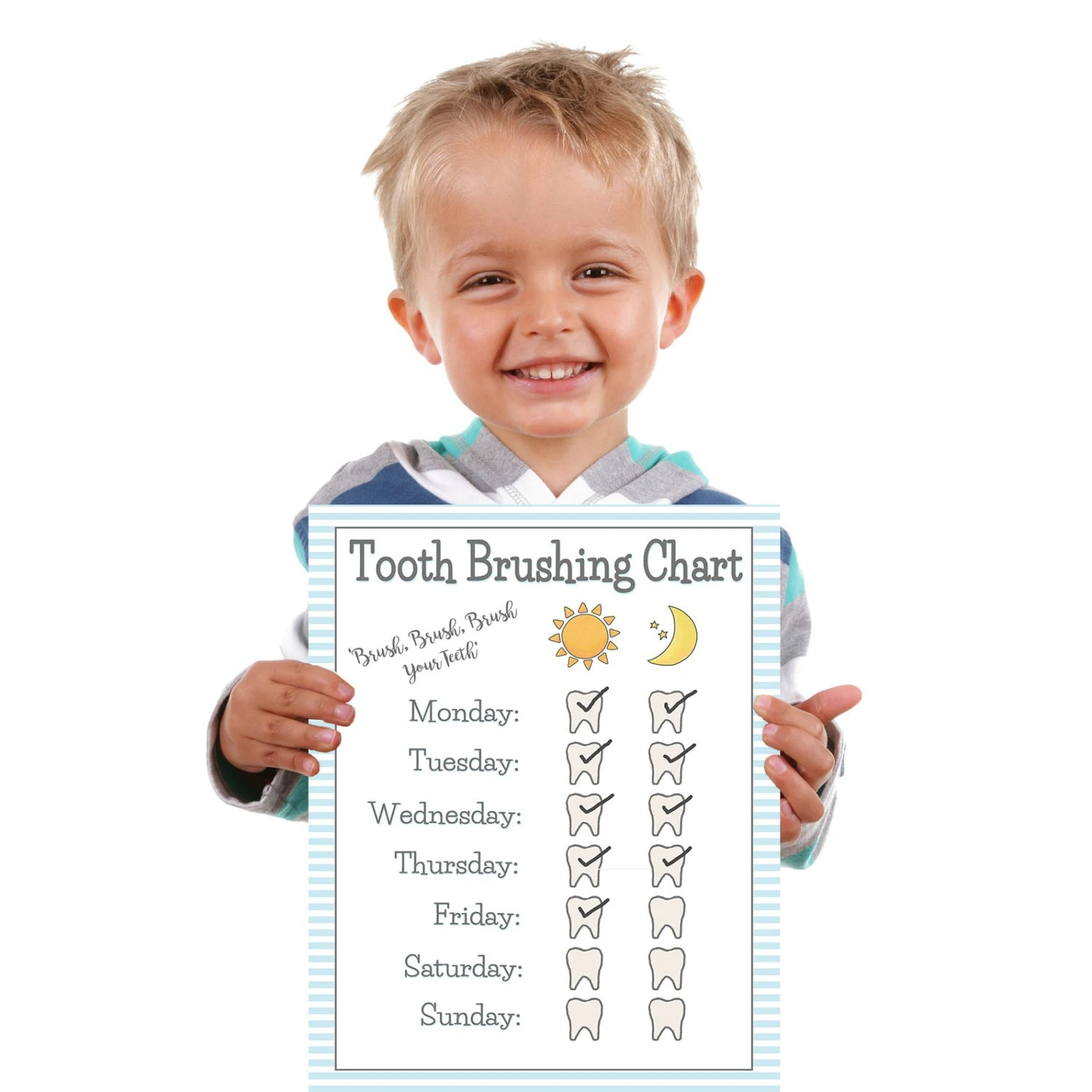Printable Boys Tooth Brushing Chart Young Child Toddler