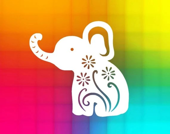 Download flourish elephant SVG and DXF Cut File for Silhouette and ...
