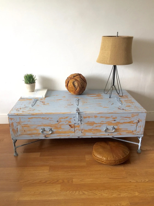 Coastal living rustic shabby chic hand painted cedar wood for Rustic coastal coffee table