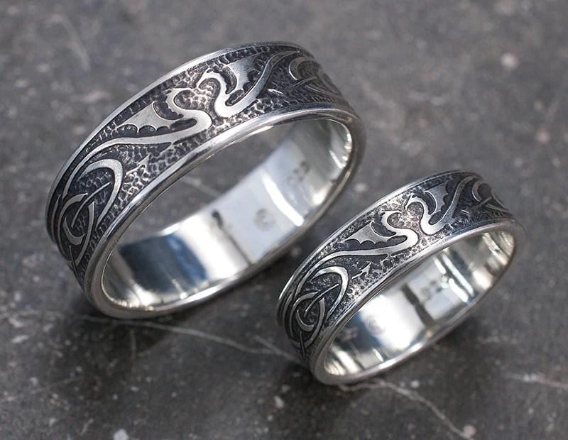 Dragon Wedding Ring Set Silver Celtic Wedding Bands Unique