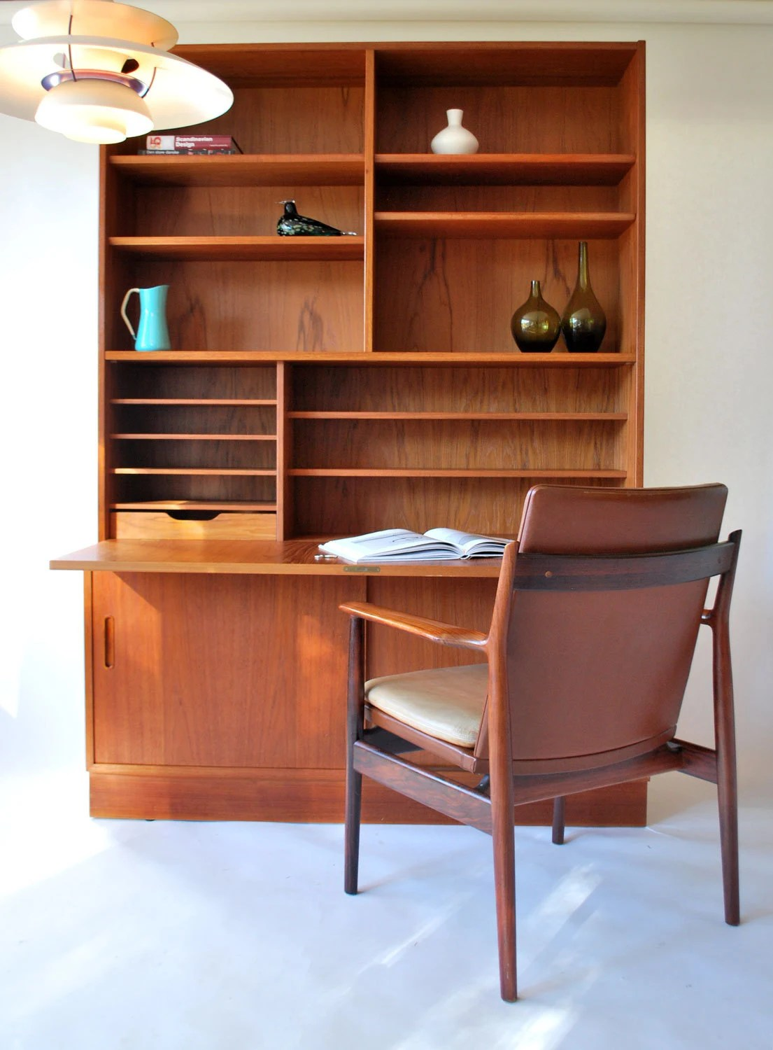 Credenza with Drop Down Desk and Bookshelf Poul Hundevad