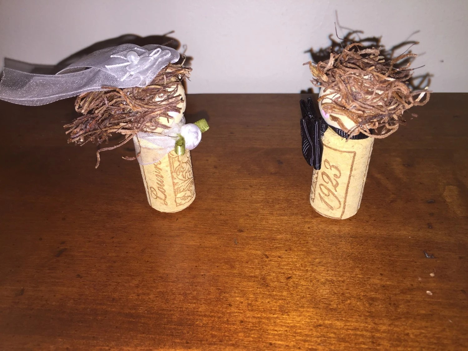 Wine Cork People Bride And Groom Set Decoration By