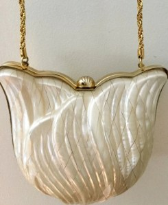 Pearlized Lucite Purse - Vintage Shell Purse - Vintage Clutch Bag