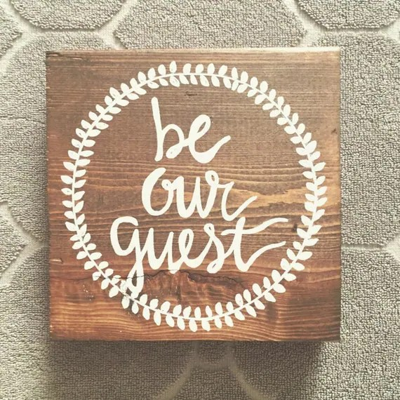 guest bedroom - be our guest - small woodeb sign - guest room - wooden sign - home decor - guest bedroom sign - guests - wood block