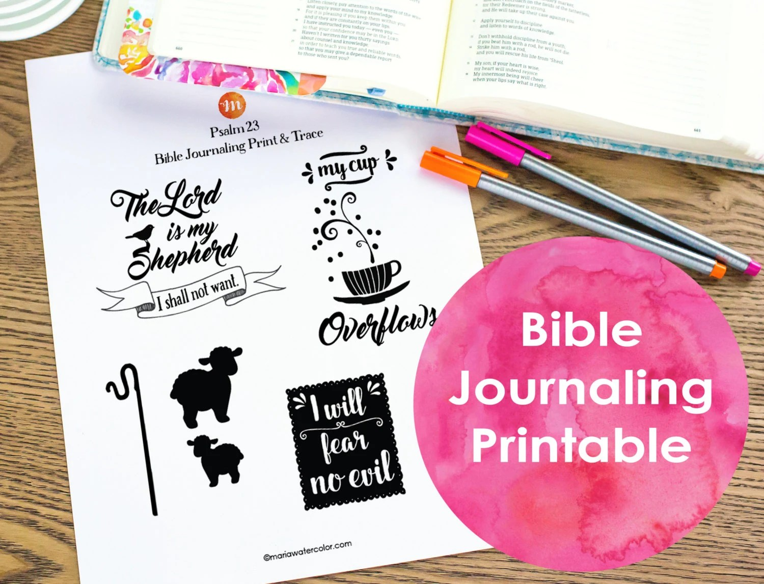 Bible Journaling Printable Psalm 23 By Mariawatercolor On Etsy