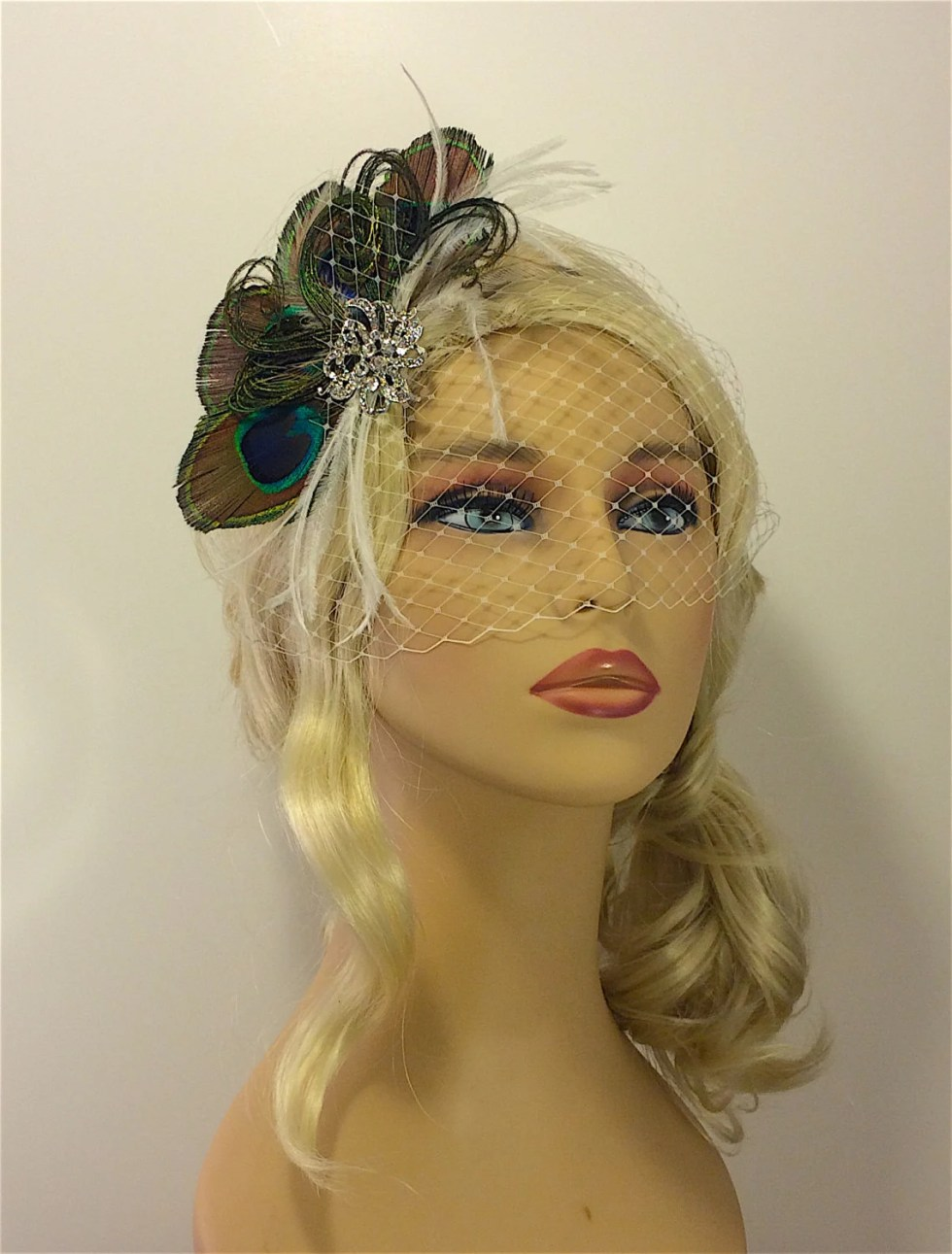 Peacock Hair Clip, Bridal Veil and Bridal Clip, Bandeau Birdcage Veil, Blusher, Bird Cage Veil, Peacock Feather Hair Clip