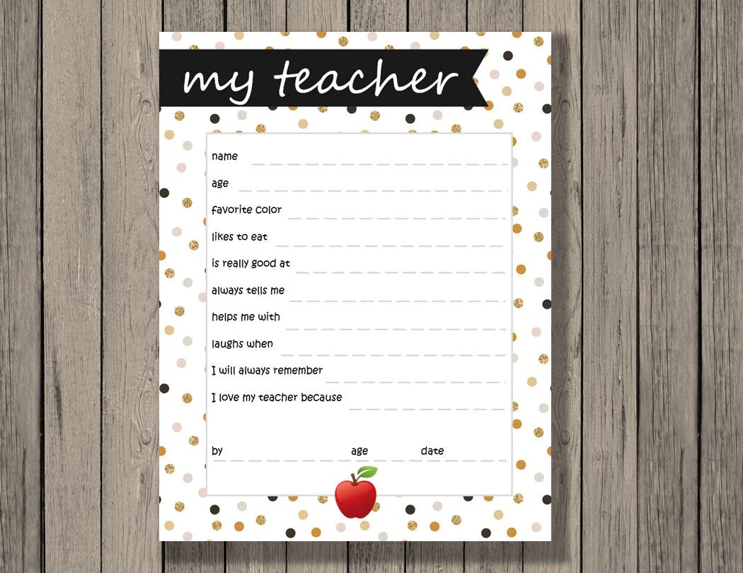 All About Teacher Printable Teacher Appreciation T